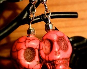 Hot pink skull earrings