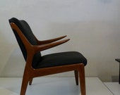 Kurt Ostervig Danish Modern Chair Black Vinyl Danish Furniture Danish Chair Unique Danish Chair Mid Century Modern Wood Chair