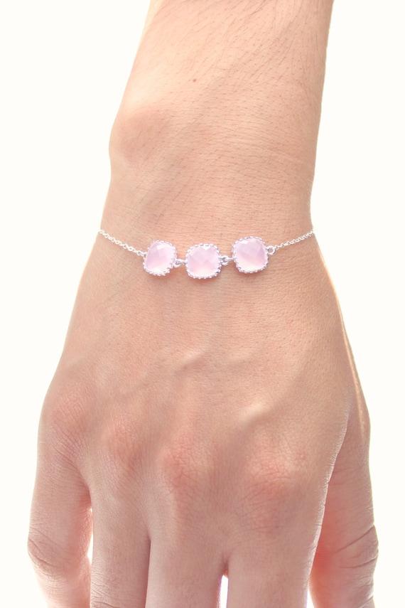 blush pink silver triple square bracelet
