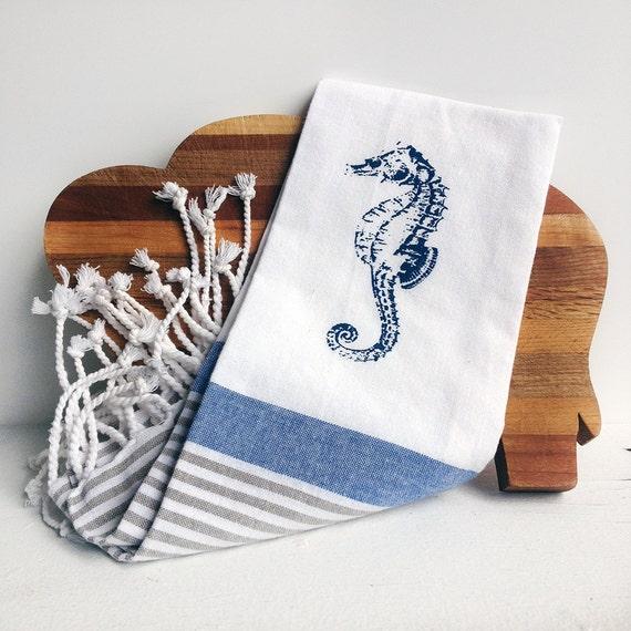 Dish Towel Sale: Sale Seahorse / Nautical Kitchen Dish Towel Tea Towel