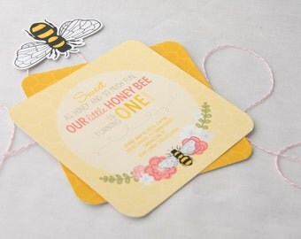 Printable Honey Bee Invitation - One Year Old Birthday - First Birthday