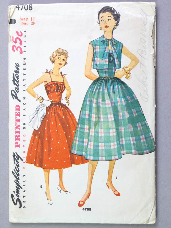 1950s Dress Pattern Sundress & Bolero with Full Skirt Fitted Midriff Gathered Bust Vintage Sewing Pattern Simplicity 4708 Size 11 Bust 29