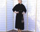 Vintage 3 piece 50's Black Velvet Bolero Jacket . Skirt . Sleeveless Blouse . Metallic Gold & Silver Embroidery Fighting Cocks . Rhinestones