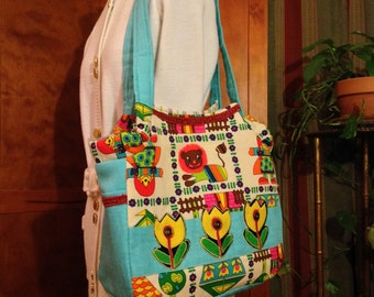 Colorful Applique Tote Bag