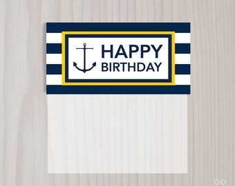 Happy Birthday Preppy Nautical Favor Bag Toppers, PRINTABLE Treat Bag Toppers, Goody Bag Toppers, Goodie Bag Favor Tags