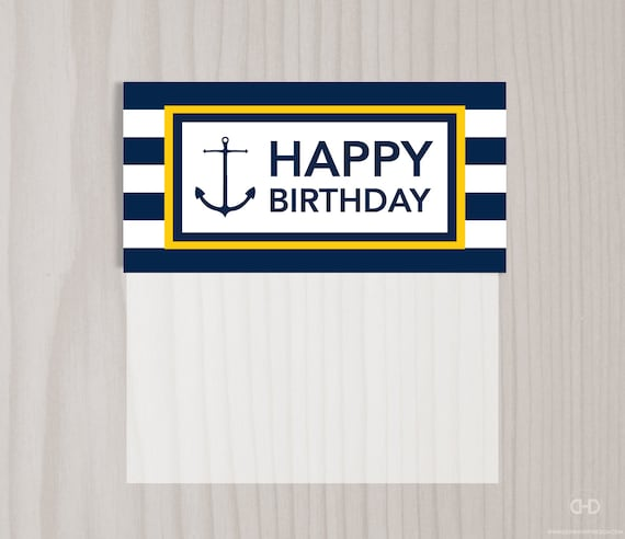 Items similar to Happy Birthday Preppy Nautical Favor Bag Toppers