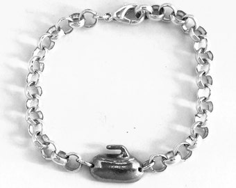 Curling Stone Bracelet, English Pewter, Silver Plated Chain British Made (ae)