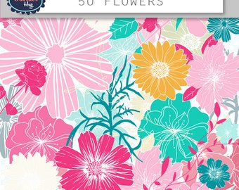 Flower clipart FLORAL CLIPART hand drawn flowers, digital graphics, flower paper, floral flowers design, flower clipart, digital clip art