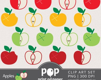 Apples Clip Art APPLE 16 cliparts set, green, yellow, red and dark red apple, picnic party, teacher's day appreciation cards, paper garlands
