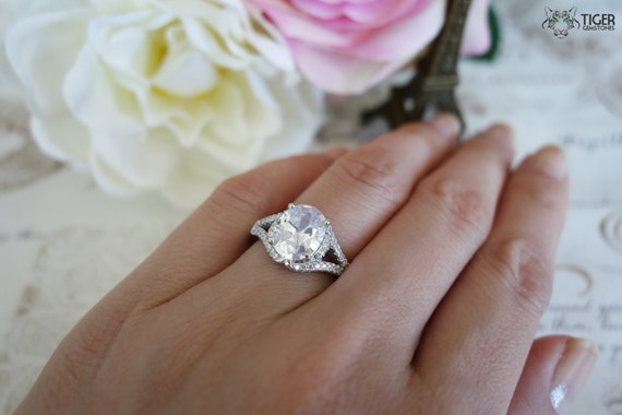 Items Similar To 3 Carat Oval Cut Halo Gatsby Style