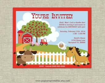 Farm Animal Invitations - Printable- Editable Text PDF- Instant Download- Personalize at home w/ Adobe Reader- Old McDonald - Size A2 - Cow