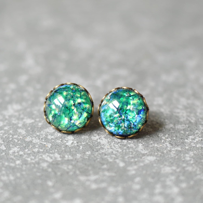 Green Fire Opal Vintage Glass Post Earrings by ...