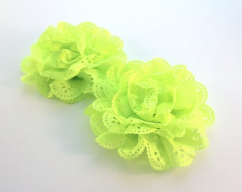 2 Eyelet Flowers--Neon Yellow / Cutout, Supply Flowers