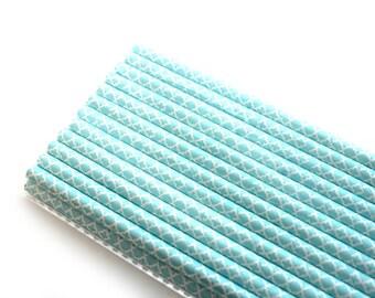Sky Blue Quatrefoil Paper Straws (25) - Party Paper Straws, Drinking Straws