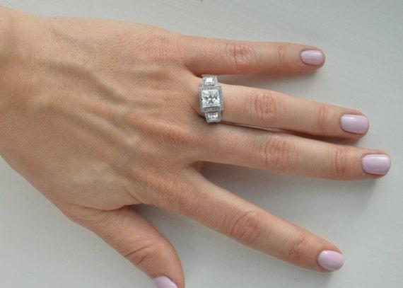 Princess Halo Ring Three Stone Engagement Ring 3 Ct Princess