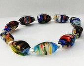 Flower Bracelet, Millefiori Bracelet, Multi Color Bracelet, Glass Beaded Bracelet, Flower Jewelry, Millefiori Jewelry