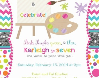 Chevron and Dot with Glitter Paint Party Invitation