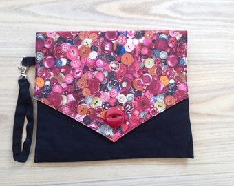 Envelope Clutch purse with button print