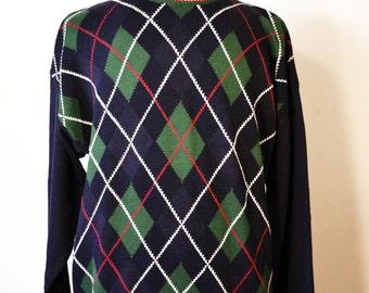 Free ship Argyle Men's Knit Sweater M Medium Blue Green Plaid