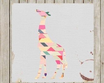 12x12 Giraffe Print, Geometric Art Printable, Nursery Wall Art, Nursery Print Poster, Home Decor, Nursery Art, Instant Digital Download