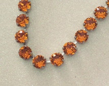 Tangerine Sky - Tangerine Orange Swarovski Crystal Chain Necklace - Beautiful Bright Orange Crystals 8mm in Silver - Handcrafted with Love