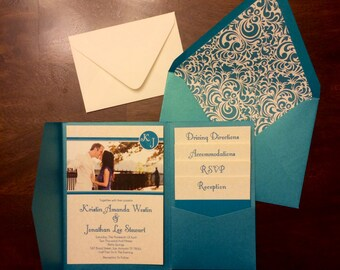 5x7  Pocket Wedding Invitation Announcement, RSVP, Accommodations, Reception, & Direction Inserts- Envelopes/Liners Included