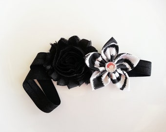 Zebra Print Baby Headband, Shabby Flower Headband, Newborn Headband, Shabby Chic Headband, Toddler Girl Headband