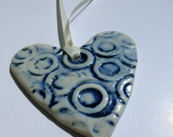 Ceramic Heart Ornament { blue }   decorative hanger   wall accent   love heart   love heart hanger   hand stamped   hand cut