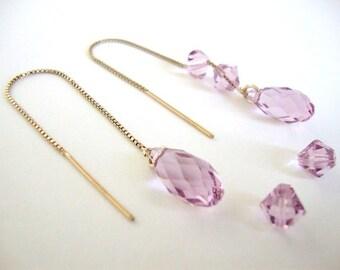 Light Amethyst Swarovski Crystal Gold-filled Threader Earrings - Bridesmaid Earrings - Handmade Minimalist Jewelry - Radiant Orchid Earrings