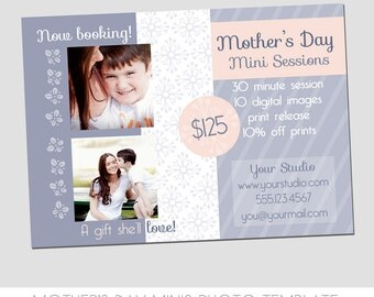 Mother's Day Mini Session Photography Template - Marketing Template - Colorful Spring Design - Alter colors to fit brand