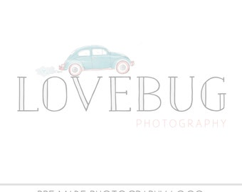 CLEARANCE LOGO -  PreMade Photography Watermark Logo - Watercolor, VW Bug, Drawn, Simple Design - Heart - Love - ooak - Premade - Volkswagon
