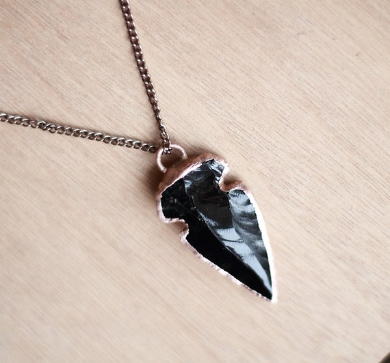 Obsidian Necklace Arrowhead Pendant by AmandaLeilaniDesigns