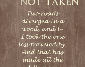 Wall Art, Typography, Art Print, Gift, The Road Not Taken ...