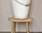 Rustic Enamel Bucket White with Blue Rim Wooden Handle Farmhouse Decor Pail