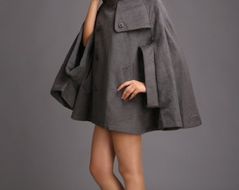 Women's stylish cape grey winter coat cashmere wool coat autumn outerwear