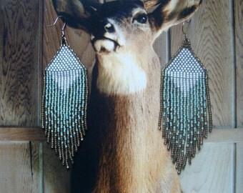 Mountain Morning...Beaded Fringe Earrings Native American Inspired