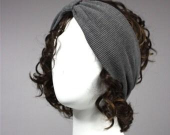 Grey Turban, Headband, Stretchy Turban, grey headband