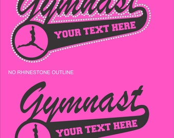 Gymnastics Sweatshirt/ Gymnast Sweatshirt/ Vinyl Rhinestone Personalized Gymnast Mom Team Name Mascot Hoodie Sweatshirt/ Gymnastics Gift