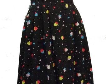 Rockabilly 50s Pinup swing dress in Black Cupcake print