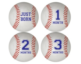 Baby Boy Baseball Monthly Stickers - Iron Ons - Photo Prop - INSTANT DOWNLOAD
