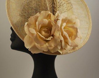 AREA 1: base natural sinamay, fabric flowers, tulle and pheasant feathers
