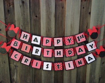 Minnie Mouse Birthday Banner red