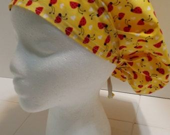 Red Lady Bugs Bouffant Surgical Scrub Hat