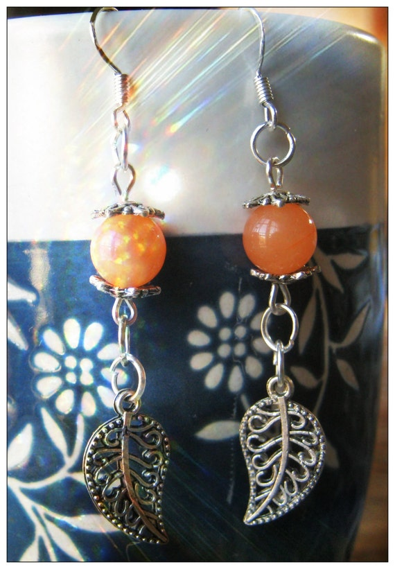 Handmade Silver Earrings with Orange Topaz & Leaves by IreneDesign2011