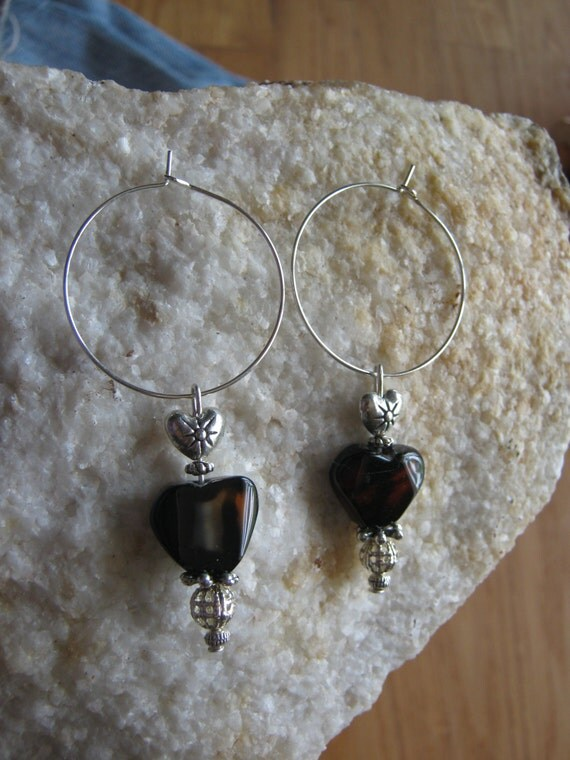 Handmade Silver Earrings with Mahogany Obsidian & Hearts by IreneDesign2011