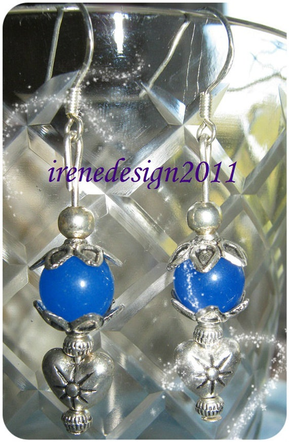 Handmade Silver Hook Earrings with Blue Jade & Hearts by IreneDesign2011