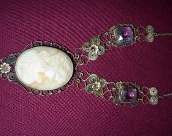 Filigree Victorian Cameo Necklace 1930's