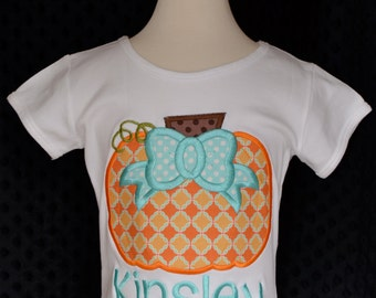 Personalized Pumpkin with Bow Applique Shirt or Onesie for Boy or Girl