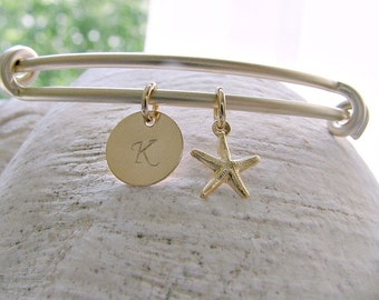 Personalized Initial Bangle letter bangle monogram initial monogram jewelry letter bangle Initial Jewelry Starfish Bangle Beach Wedding gift