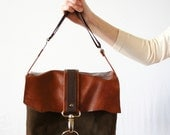 Messenger  Leather Bag, Shoulder Bag, Purse, Leather And Cotton Bag, Brown Leather Bag, Women's Leather Bag,Leather And Cotton Bag,Brown Bag